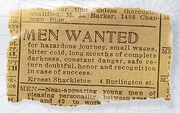 AVISO PUBLICADO EN 1914  por Sir Shackleton para reclutar voluntarios para su expedición a la Antártida